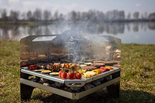 PartyGrill von KSF, Absolute Neuheit, zerlegbar, mobil zum Mitnehmen für jedes Picknick, Edelstahl, leicht zu transportieren
