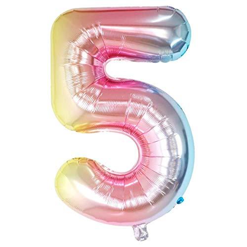 DIWULI, XL Zahlen-Ballons, Zahl 5, Schillernde Regenbogen Luftballons, Zahlenluftballons, Folien-Luftballons Nummer Nr Jahre, Folien-Ballons 5. Geburtstag, Hochzeit, Party, Dekoration, Geschenk-Deko