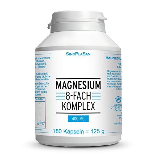 Magnesium 8-fach Komplex 400 mg || 180 Kapseln || 400 mg elementares Magnesium || 8 verschiedene Magnesiumarten || SinoPlaSan
