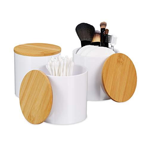 Relaxdays Wattestäbchen Aufbewahrung im 3er Set, Wattepadhalter, mit Deckel, pflegeleicht, Acryl & Bambus, Natur-weiß