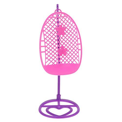 Generic Sedia a Cesto in Miniatura Staccabile in Plastica con Sedile Oscillante per Bambola