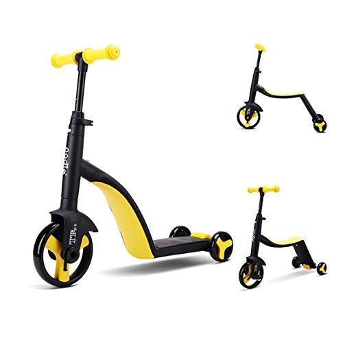 Zeroall 3 en 1 Patinetes Triciclo Trike Bicicleta de Equilibrio para Niños de 2 a 6 Años, Manillar Altura Adjustable, 3 Ruedas Ligeras Scooter Triciclo para Niños y Niñas Apoyan 25KG(Amarillo)