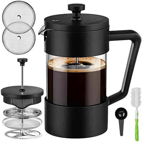 Veken French Press Coffee Tea Maker 21oz Thickened Borosilicate Glass Coffee Press with 3 Filter product image