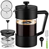 Veken French Press Coffee & Tea Maker 21oz, Thickened Borosilicate Glass Coffee Press with 3 Filter Screens, Rust-Free and Dishwasher Safe, 100% BPA Free, Black