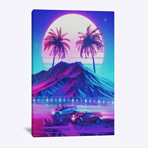 NOBRAND Synthwave Retro Electro Poster Wall Art Canvas para Sala De Estar Hogar Dormitorio Estudio Dormitorio Decoración De Arte Impresiones 50X70Cm Sin Marco