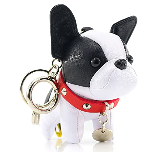French Bulldog Keychains for Women, SALTY FISH Cute Leather Dog Car Key Chain Bag Charm, Gifts for Women Kids Girls Dog lover (White-Black)