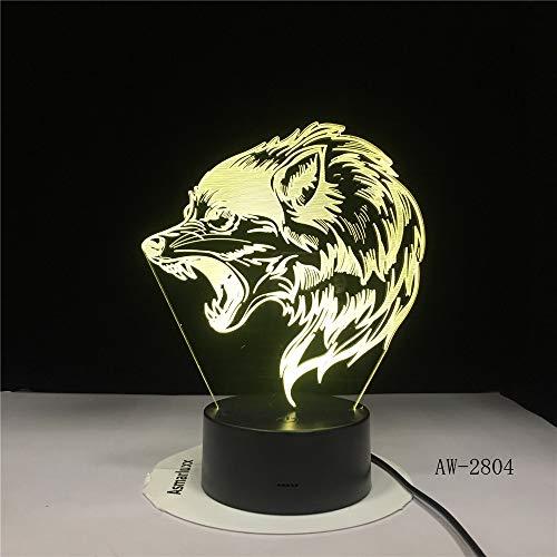 Fierce Wolfs 3D Head USB LED Lampara de mesa Creative Baby Sleep Night Light Lampara de mesilla Accesorio de dormitorio Decoracion de dormitorio Regalos para ninos