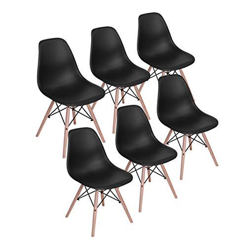 H.J WeDoo 6er Set Moderne Wohnzimmerstuhl Esszimmerstuhl Bürostuhl Kunststoff Massivholz Chair im skandinavischen Stil, Schwarz