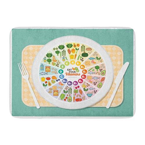 Soefipok Alfombra de baño Vitamina Fuentes de alimentación Arco Iris Rueda Tabla sobre Plato en la Mesa Comida Sana Concepto de Cuidado de la Salud Decoración del baño Alfombra