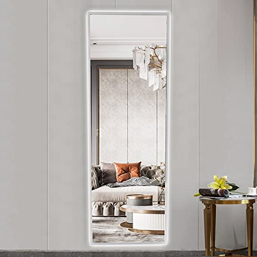 Berfac Touch Sensor Large Full-Length Mirror with Light, Wall-Mounted Frameless Decorative Mirror for Living Room, Bedroom and Entrance, 65×22 Inch, White