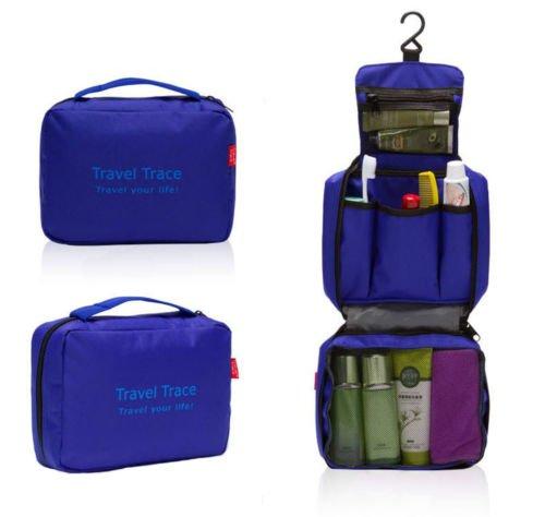 Organizer da appendere, borsa unisex, di lusso, pieghevole, ottima per toeletta, trucco, trekking, palestra, borsa multiuso (blu)