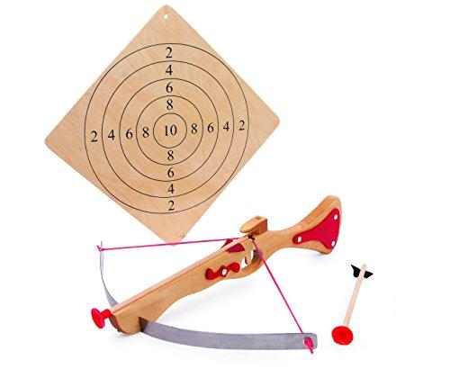 small foot 5035 Sportarmbrust aus Holz, Zielscheibe und Zwei Pfeilen mit Gummikappen, Spielspaß ganz ohne Bedenken Spielzeug