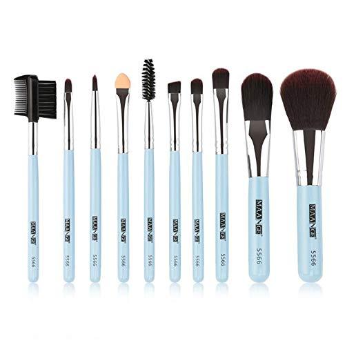 Ensemble de brosse de maquillage, 10pcs Premium Eye brosses cosmétiques pour eyeliner Eye Shadow sourcil, fibre synthétique poils cosmétiques mélange brosse outil,Blue