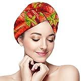 XBFHG Envolturas de toallas de microfibra para el cabello para mujeres Gorra de cabello seco y rápido con botón - Pimientos rojos de chile picante Condimento Pimentón ardiente en el