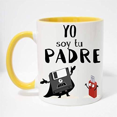 FUNNY CUP Taza Dia del Padre. Yo Soy tu Padre. Regalo Divertido de Star Wars. Frikis papás. (Amarillo)