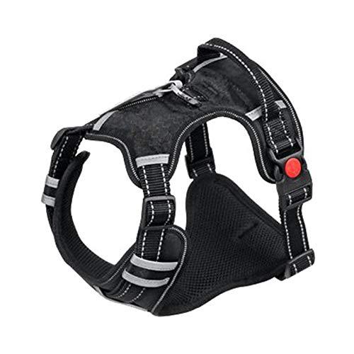 PPKZY Arnés Transpirable y cómodo para Perros Grandes, Chalecos Ajustables, Suministros de Entrenamiento para Mascotas Reflectantes para Perros pequeños y medianos. (Color : Black, Size : 53-94cm)