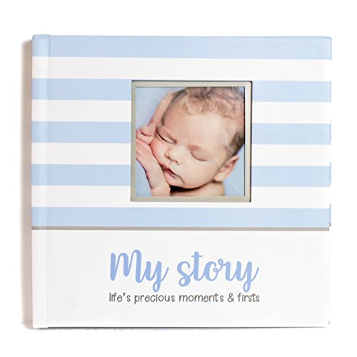 First Year Baby Memory Book & Baby Journal (3 Color Styles Available). Perfect for Boys or Girls Baby Shower Gift. First 5 Years Scrapbook, Keepsake & Photo Journal. Unisex, Blue