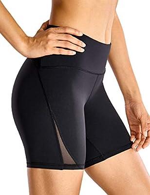 CRZ YOGA Women's Naked Feeling High Waisted Biker Shorts Tummy Control Sports Workout Yoga Shorts 6 Inches Black - 6'' Zip Pocket Medium