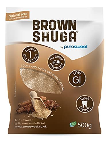 Puresweet Brown Shuga 500g, Brown Sugar Alternative, No Bitter Aftertaste, Keto and Diabetic Friendly, Non GMO, Vegan, with Stevia., Pack of 1