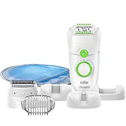 Braun Silk-épil 5 5780 Epilator Legs, Body and Face, with 7 extras, incl. Cooling glove, shaving attachment, trimmer attachment, white / green