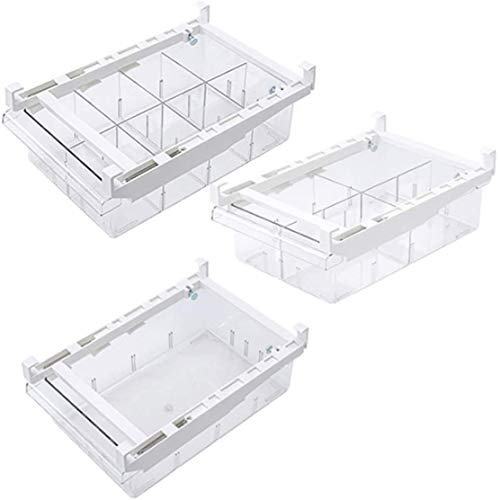 Organizador de cajones de nevera, caja de almacenamiento organizadora de nevera, contenedor organizador transparente extraíble para congelador, caja de almacenamiento para huevos, verduras y frutas