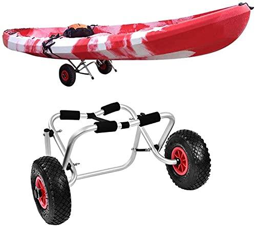 LVLUOKJ Carro Plegable para Kayak, Bote Canoa Carro, Transporte de Remolque con Plataforma de Aluminio para Trabajo Pesado con 2 Ruedas de Goma sólida, Capacidad de Carga de 80 kg