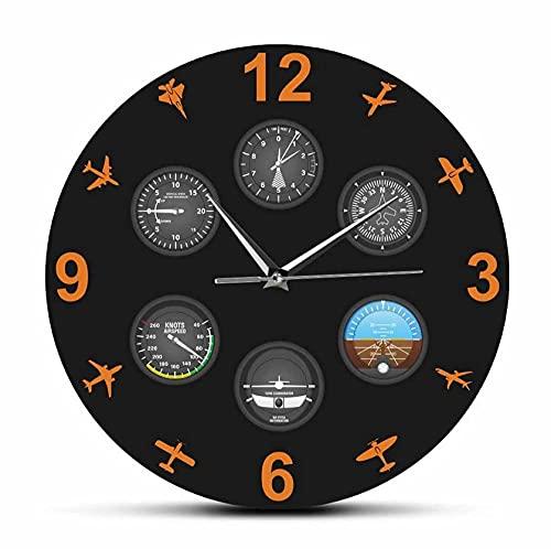 Reloj De Acrílico 30cm Instrumento de Vuelo con Aviones Militares Reloj de Pared silencioso Aviación Aviador Reloj de Pared Piloto Decoración del hogar Regalo