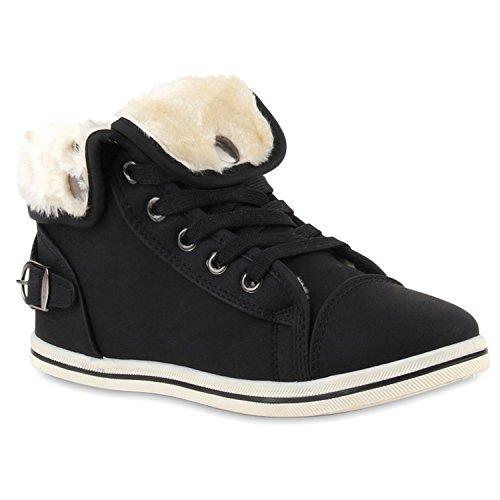 stiefelparadies Warme Damen Sneakers Winter Sport Schnürer Gefüttert Schuhe 127503 Schwarz Schnürer 37 Flandell