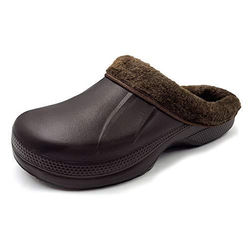 AMOJI Zuecos con Forro de Invierno Zapatos de jardín de Piel Forro Polar Zapatillas de Forro de Ferry Calzado de casa cálido Habitación Forro borroso Hombres Mujeres Marrón 1534 Talla 40 EU