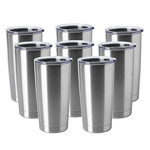 HASLE OUTFITTERS 20oz Tumblers Stainless Steel Mugs with Lid Double Wall Vacuum Insulated Coffee Cups for Cold & Hot Drinks 8 Pack Stainless Steel