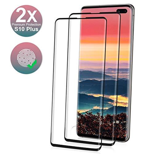 NONZERS 2 Piezas Protector de Pantalla para Samsung Galaxy S10 Plus,3D Curvo Cristal Templado,9H Dureza,Alta Definicion y Sensibilidad,Trabajar con ID de Huella Digital