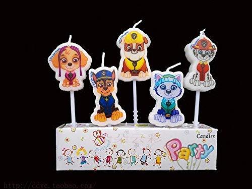 Astra Gourmet - 5 velas de cumpleaños con diseño de Patrulla Canina
