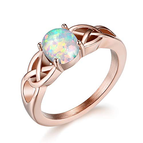 Ameroden Celtic Knot White Opal Stainless Steel Ring Rose Gold Size 8