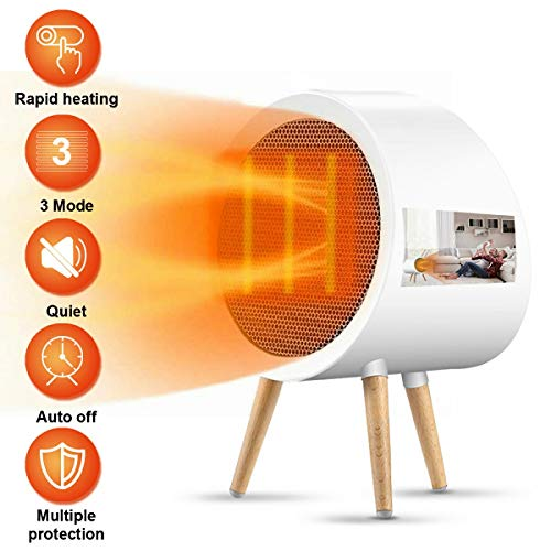JUHOT Ceramic Space Heater, 1000/500W Electric Personal Heater with Overheat Protection and Tip-over Protection, Suitable for Indoor Bedroom,Living Room,Study,Office or Outdoor Use Heater Room Space