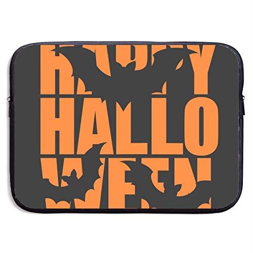 Laptop-Fall Vektor Trick or Treat weiße Nachricht Design, Happy Halloween Day auf schwarzem Hintergrund Laptop-Tasche 15 Zoll