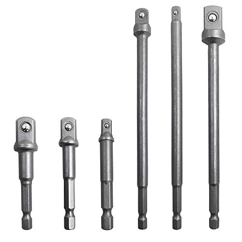 AFUNTA 6 Pcs Hex Shank Socket Adapter Drill Bit/Extension Set, 1/4-inch, 3/8-inch, and 1/2-inch Driver Power Drill Impact Driver - 3 inch & 6 inch Socket Adapter