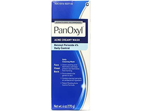 Crema contra el acné Panoxyl 4Acne Creamy Wash, 4% benzoyl peroxide, 6oz, paquete de de 4