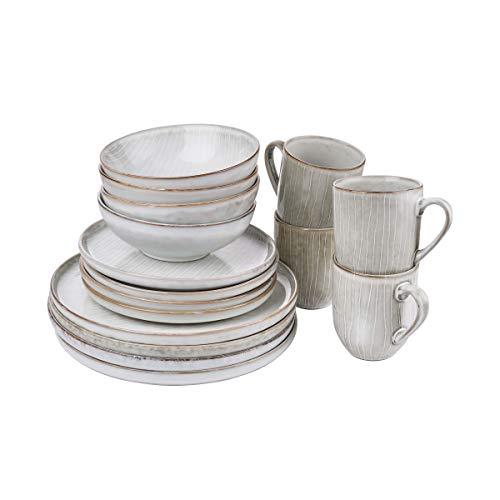 Butlers HENLEY - Geschirrset 16-teilig für 4 Personen - Geschirr-Service im Skandi-Look - Kombiservice aus 4 Tellern Ø 21,5cm, 4 Schalen Ø 16,5cm, 4 Tassen 400ml