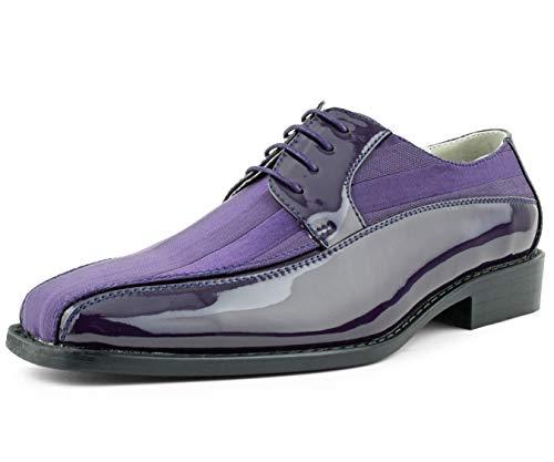 Amali et.al Avant, Mens Shoes - Dress Shoes for Men - Oxford Shoes for Men - Formal Shoes for Men - Tuxedo Shoes for Men, Satin Lace Up, Mens Dress Shoes, Purple Size 8