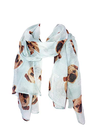 Pamper Yourself Now Grüne Mops Hunde, langen Schal, weiche Damen Mode London (Green pug dogs,long scarf)