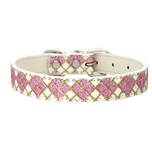 PanDaDa Hunde Halsband aus PU Leder, verstellbare Hunde halsbänder mit Glitzer Klassikgittern und Schnellverschluss, Gold, Blau, Schwarz, Pink, Lila und Weiß