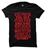 Haase Unlimited Strange Neverending Story Lyrics - TV Show Ladies T-Shirt (Black, Large)