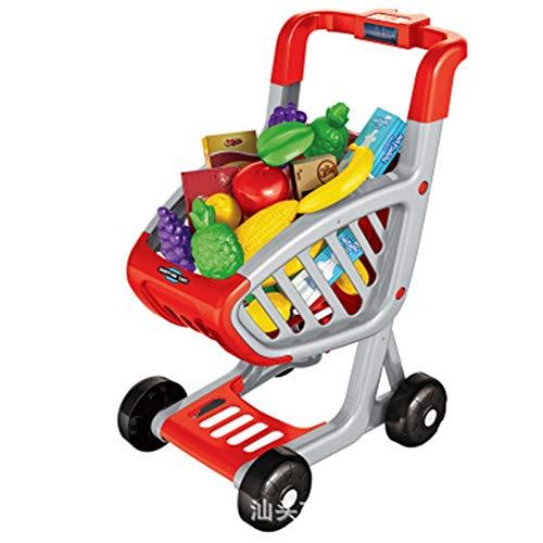 Carrito de compras para niños juguete Carrito De La Compra De Juguetes Trolley Para Niños Play Food Fruit Fruitables Tienda Accesorios Para Niños Niños Y Niñas (rojo) Carrito de juegos para niños