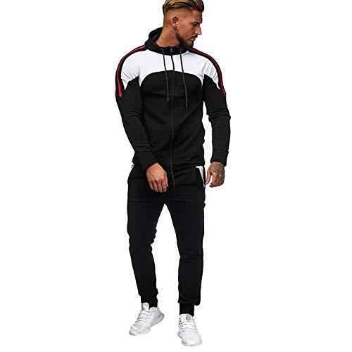 XUETON Mens 2 Pieces Patchwork Hoodie Tracksuit, Zipper Up Jogging Gym Sweatsuit Pants Sets Activewear Black