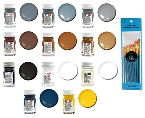 Testors Naval Color Enamel Paint Variety, 1/4 fl oz (Pack of 11) - with Spice of Life Paint Brush Set