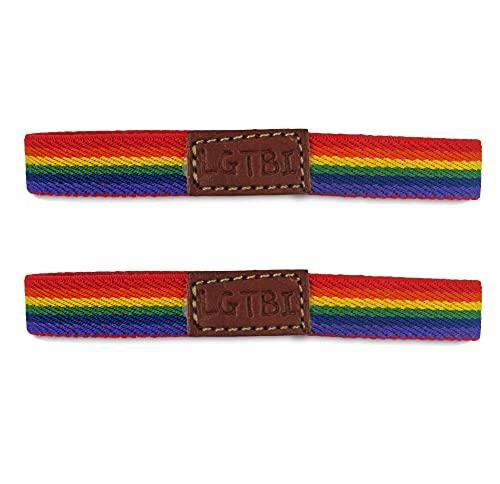 Pack 2 Pulseras Orgullo Gay Lesbiana LGTBI/Pulsera LGBT Bisexual Transexual Pride Tela Llamativa Elástica con Colores del Arco Iris Cómoda y Estilosa Unisex (Style 2)