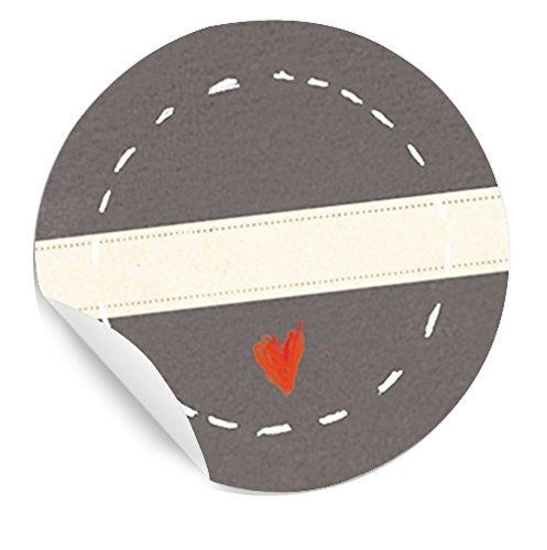 Mit Herz! STICKER mit Herzchen im KREIS und Freitextfeld für Marmelade, Gewürze, Geschenke, Tischkarten, 24 schöne Etiketten, MATTE Papieraufkleber in GRAU für Geschenke, Gastgeschenke und vieles mehr