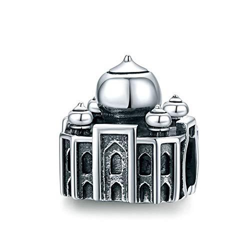 GaLon Encantos de la Vendimia de Las Mujeres S925 Plata Taj Mahal Cuentas de Bricolaje Artesanal de Joyas Compatible con Pandora y Pulseras Europeas Collares