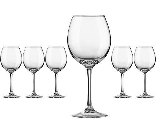 Hostelvia - Bicchieri da vino Decanter 470 ml - Confezione da 6 - Vetro temperato resistente - Lavabile in lavastoviglie - Calici da vino