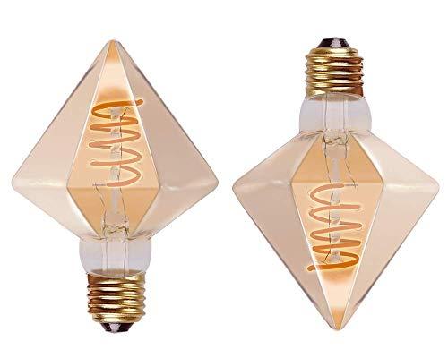 RADIANT LEDエジソン電球 E26 LED電球 金色 エジソンバルブ レトロ電球  アンティーク照明 RADIANT LEDエジソン電球 E26 LED電球 金色 エジソンバルブ レトロ電球  アンティーク照明 装飾電球 間接照明 G95 D80 D95 (2個セット, 【D95】ダイヤモンド型電球(アンバー))